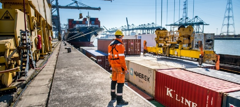 Port worker next to container shipment